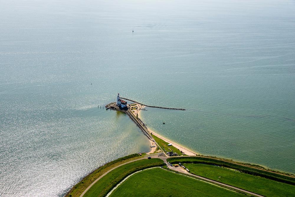 Nederland, Noord-Holland, Marken, 05-08-2014; vuurtoren van het (voormalig) eiland Marken met de bijnaam Paard van Marken. Het omliggende water is het Markermeer (IJsselmeer, Zuiderzee)<br /> Lighthouse on the the former island of Marken, now connected with a causeway (dam) to the mainland.<br /> luchtfoto (toeslag op standard tarieven);<br /> aerial photo (additional fee required);<br /> copyright foto/photo Siebe Swart