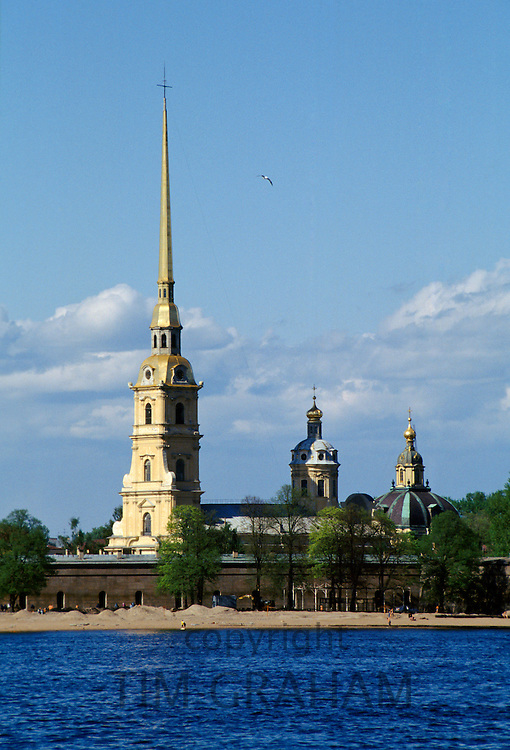 Peter and Paul Fortress museum and cathedral, Petropavlovskaya Krepost, burial site of Russian Tsars in St Petersburg, Russia