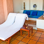 Private outdoor living area in the rooms at La Casa Que Canta luxury resort at Zihuatanejo, Mexico