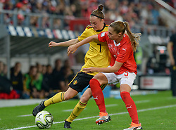 October 9, 2018 - Biel, SWITZERLAND - Belgium's Elke Van Gorp and Switzerland's defender Noelle Maritz pictured in action during a soccer game between Switzerland and Belgium's national team the Red Flames, Tuesday 09 October 2018, in Biel, Switzerland, the return leg of the play-offs qualification games for the women's 2019 World Cup. BELGA PHOTO DAVID CATRY (Credit Image: © David Catry/Belga via ZUMA Press)