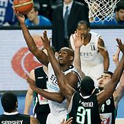 Efes Pilsen's Erwin DUDLEY (C) during their Turkish Basketball league match Efes Pilsen between Bornova Belediyespor at the Sinan Erdem Arena in Istanbul Turkey on Saturday 16 April 2011. Photo by TURKPIX