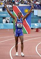 Friidrett. Commonwealth Games. Samveldelekene. 2002.<br /> Manchester. England.<br /> 29.07.2002.<br /> Frankie Fredericks fra Namibia. 200 meter.<br /> Foto: Matthew Impey, Digitalsport