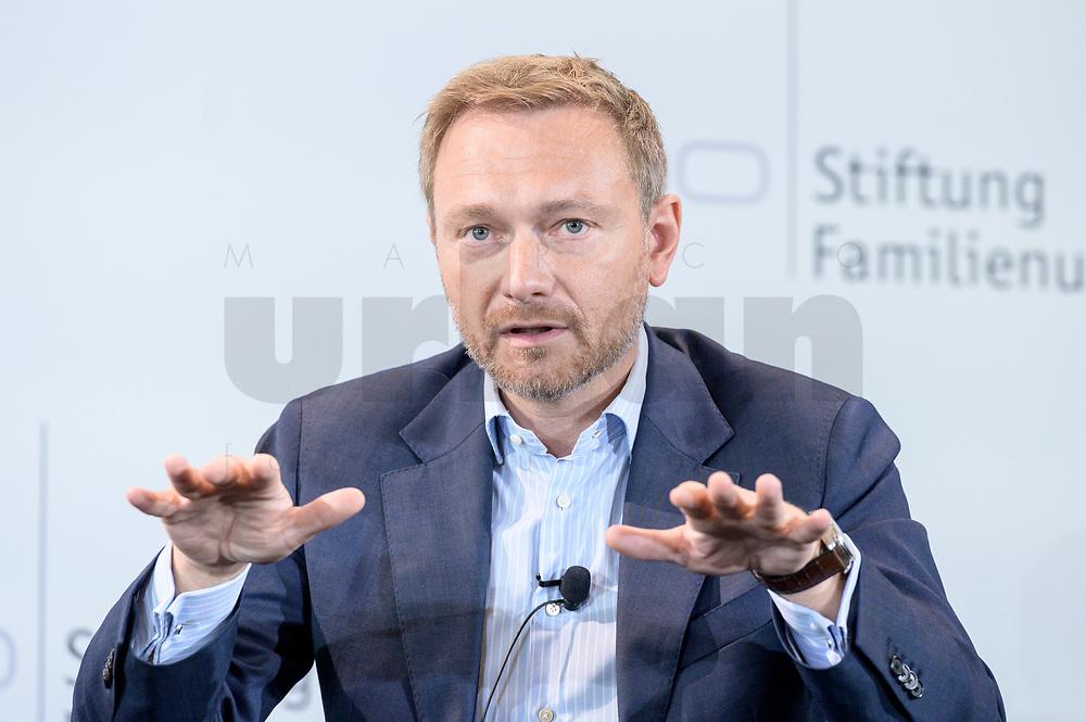 28 JUN 2019, BERLIN/GERMANY:<br /> Christian Lindner, FDP Bundesvorsitzender, waehrend einer Diskussion, Tag des Deutschen Familienunternehmens, Hotel Adlon<br /> IMAGE: 20190628-01-195