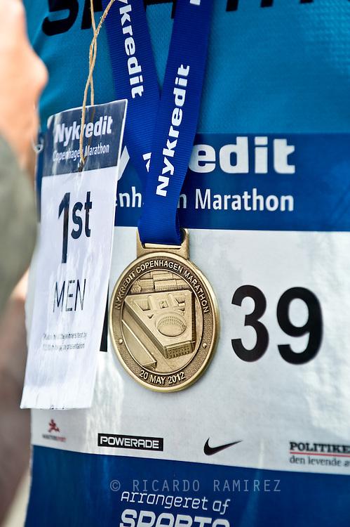 20.05.12. Copenhagen, Denmark.Denmark' s Martin Parkhoei was the winner of the Copenhagen Marathon 2012, after running 42,195 km in 2 hrs, 24 minutes and 49 seconds. About 12,000 contestants participated in the marathon that started in Islands Brygge.Photo: © Ricardo Ramirez
