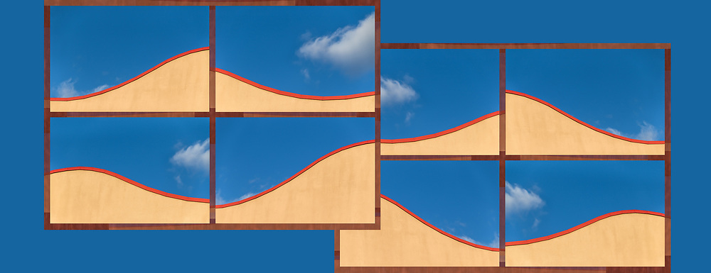 """This composite photoimage is an abstract expression Inspired by looking up over an architectural detail at a deep blue sky with isolated, whimsical clouds.<br /> <br /> For IMAGE LICENSING just click on the """"add to cart"""" button above or contact the artist.<br /> <br /> Fine Art archival paper prints for this image as well as canvas, metal and acrylic prints available here: <br /> <br /> <br /> To GET BACK TO LAGE IMAGE VIEWS:<br /> Click your browser back arrow until you get to the large view screen. <br /> OR click https://julieweberphoto.photoshelter.com/index<br /> which takes you to the home page. Then choose a gallery.  <br /> <br /> For FULL SCREEN VIEW, click on expand view double arrow icon"""