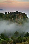 Coastal fog, trees, and hills at sunset Big Sur Coast, Monterey County, California