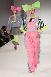 © Licensed to London News Pictures. 31/05/2015. London, UK. Collection by Rachel Gordon. Fashion show of the University of East London (UEL) at Graduate Fashion Week 2015. Graduate Fashion Week takes place from 30 May to 2 June 2015 at the Old Truman Brewery, Brick Lane. Photo credit : Bettina Strenske/LNP