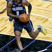 ORLANDO, FL - APRIL 07: Dwayne Bacon #8 of the Orlando Magic controls the ball against the Washington Wizards at Amway Center on April 7, 2021 in Orlando, Florida. NOTE TO USER: User expressly acknowledges and agrees that, by downloading and or using this photograph, User is consenting to the terms and conditions of the Getty Images License Agreement. (Photo by Alex Menendez/Getty Images)*** Local Caption *** Dwayne Bacon