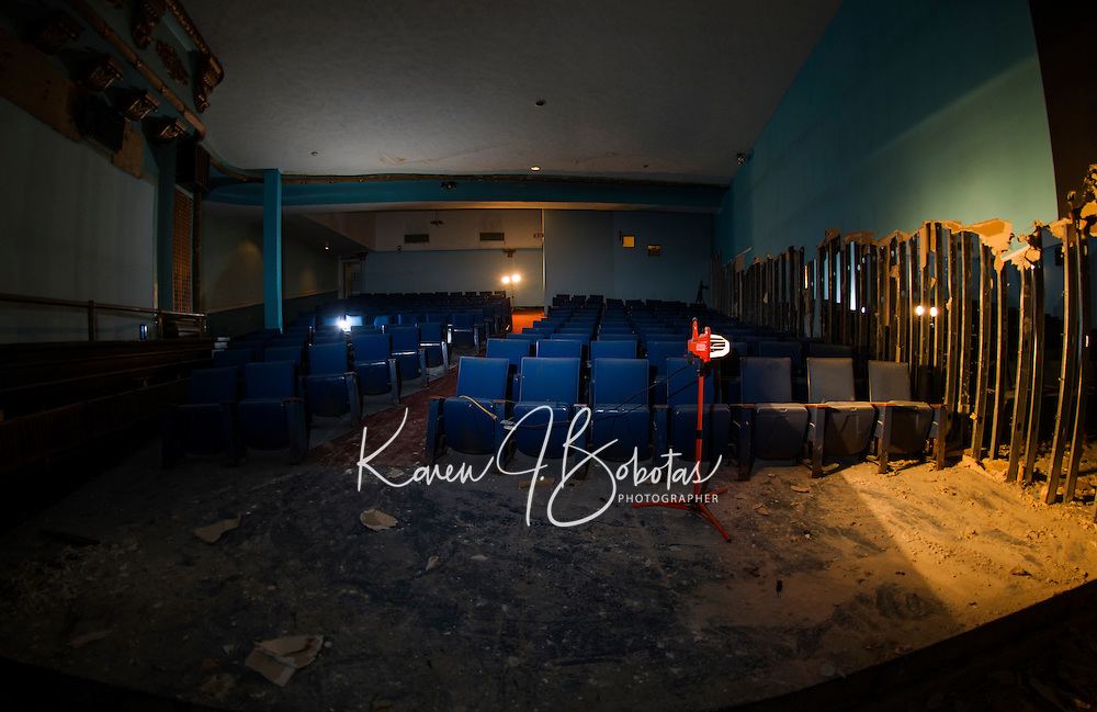 Renovation work done by Bonnette, Page and Stone at the Colonial Theater in downtown Laconia.  First level from stage looking out onto theater seats with middle partition wall still in tact.  ©2016 Karen Bobotas Photographer