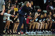 March 18, 2016; Tempe, Ariz;  NM State associate head coach Tamara Inoue shouts instructions to her team during a game between No. 2 Arizona State Sun Devils and No. 15 New Mexico State Aggies in the first round of the 2016 NCAA Division I Women's Basketball Championship in Tempe, Ariz. The Sun Devils defeated the Aggies 74-52.