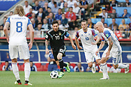 Lionel Messi of Argentina, Birkir Bjarnason, Gylfi Sigurdsson and Emil Hallfredsson of Iceland during the 2018 FIFA World Cup Russia, Group D football match between Argentina and Iceland on June 16, 2018 at Spartak Stadium in Moscow, Russia - Photo Thiago Bernardes / FramePhoto / ProSportsImages / DPPI