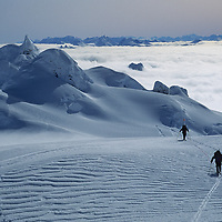 CORD.SARMIENTO EXP., Expedition (MR) skis to summit of 2nd highest peak in Patagonian range (Chile).