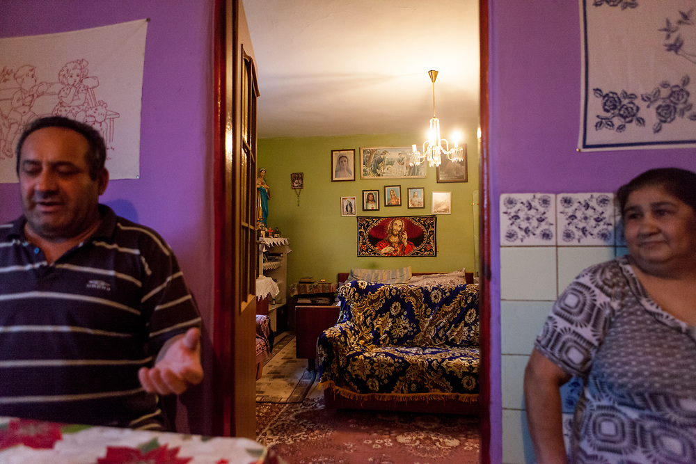 """Justina Korckovska, and her husband  Julius Korckovsky in their house at the Roma part of the district """"Podsadek"""" (2016). The town of Stara Lubovna has a population of 16350, of whom 2 060 (13%) are of Roma origin. The majority of Roma live in the Podsadek district, where 980 (74%) out of 1330 inhabitants are Roma."""