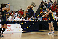 Loughborough, England - Saturday 31 July 2010: The Australian Open Teams in action in a Double Dutch routine which helped them to win the overall Open Teams title during the World Rope Skipping Championships held at Loughborough University, England. The championships run over 7 days and comprise junior categories for 12-14 year olds in the World Youth Tournament, 15-17 year olds male and female championships, and any age open championships. In the team competitions, 6 events are judged, the Single Rope Speed, Double Dutch Speed Relay, Single Rope Pair Freestyle, Single Rope Team Freestyle, Double Dutch Single Freestyle and Double Dutch Pair Freestyle. For more information check www.rs2010.org. Picture by Andrew Tobin/Picture It Now.