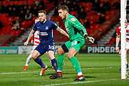 Southend United forward Simon Cox (10) waits for the delivery during the EFL Sky Bet League 1 match between Doncaster Rovers and Southend United at the Keepmoat Stadium, Doncaster, England on 12 February 2019.
