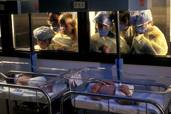 Stock photo of young children admiring newborns.