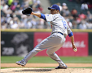 CHICAGO - MAY 22:  Hiroki Kuroda #18 of the Los Angeles Dodgers pitches against the Chicago White Sox on May 22, 2011 at U.S. Cellular Field in Chicago, Illinois.  The White Sox defeated the Dodgers 8-3.  (Photo by Ron Vesely)  Subject:   Hiroki Kuroda