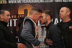Sunderlands Glenn Foot (right) and Josh Leatherhead square up during a press conference at the Copthorne Hotel, Newcastle.