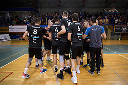 Players of OK Calcit Volley celebrate after 3rd Leg volleyball match between OK Calcit Volley and Salonit Anhovo in Semifinal of 1. DOL Slovenian National Championship 2017/18, on April 15, 2018 in Sports hall Kamnik, Kamnik, Slovenia. Photo by Urban Urbanc / Sportida