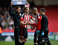 Leon Clarke of Sheffield Utd off injured replaced by James Hanson of Sheffield Utd during the English League One match at  Bramall Lane Stadium, Sheffield. Picture date: April 30th 2017. Pic credit should read: Simon Bellis/Sportimage