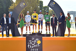 French Pierre Latour of AG2R La Mondiale wearing the white jersey for the best young rider, British Geraint Thomas of Team Sky wearing the yellow jersey of overall leader, French Julian Alaphilippe of Quick-Step Floors wearing the red polka-dot jersey for best climber and Slovak Peter Sagan of Bora-Hansgrohe wearing the green jersey of the points leader celebrate on the podium after the last stage of the 105th edition of the Tour de France cycling race, 116km from Houilles to Paris, France, on Sunday 29 July 2018. This year's Tour de France takes place from July 7th to July 29th. Photo by Eliot Blondet/ABACAPRESS.COM