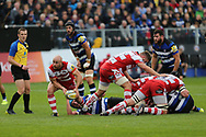 Gloucester scrum half captain Willi Heinz (9) passes the ball to the backs during the Aviva Premiership match between Bath Rugby and Gloucester Rugby at the Recreation Ground, Bath, United Kingdom on 29 October 2017. Photo by Gary Learmonth.