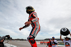 November 17, 2019, Cheste, VALENCIA, SPAIN: Marc Marquez, rider of Repsol Honda Team from Spain, celebrates the victory and the World Champion Title during the podio after the MotoGP Race of the Valencia Grand Prix of MotoGP World Championship celebrated at Circuit Ricardo Tormo on November 16, 2019, in Cheste, Spain. (Credit Image: © AFP7 via ZUMA Wire)