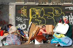 Two homeless women living in cardboard houses on a street near the Pompidou Centre; Paris; France