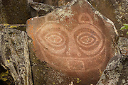 The famous ancient indian rock art known as &quot;Tsagaglalal&quot; or &quot;She Who Watches&quot; located in the Columbia Hills State Park in Washington as part of the Columbia River Gorge National Scenic Area. There are several legends of &quot;Tsagaglalal&quot;<br /> <br /> Quoted from Wikipedia 6/6/08 &quot;There are several versions of the legend, but the one told by the Wishram people is as follows:<br /> A woman had a house where the village of Nixluidix was later built. She was chief of all who lived in the region. That was a long time before Coyote came up the river and changed things and people were not yet real people. After a time Coyote in his travels came to this place and asked the inhabitants if they were living well or ill. They sent him to their chief who lived up on the rocks, where she could look down on the village and know what was going on.<br /> Coyote climbed up to the house on the rocks and asked &quot;What kind of living do you give these people? Do you treat them well or are you one of those evil women?&quot; &quot;I am teaching them to live well and build good houses,&quot; she said.<br /> &quot;Soon the world will change,&quot; said Coyote, &quot;and women will no longer be chiefs.&quot; Then he changed her into a rock with the command, &quot;You shall stay here and watch over the people who live here.&quot;<br /> All the people know that Tsagaglalae sees all things, for whenever they are looking at her those large eyes are watching them.&quot;