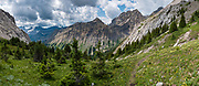 From North Kananaskis Pass on the border of Alberta, view peaks in Height of the Rockies Provincial Park, British Columbia, Canada. This image was stitched from multiple overlapping photos.