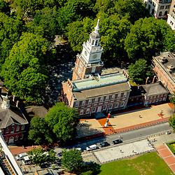 aerial view Independence Hall, Philadelphia PA