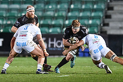 Matthew Screech of Dragons is tackled by Renato Giammarioli of Zebre<br /> <br /> Photographer Craig Thomas/Replay Images<br /> <br /> Guinness PRO14 Round 7 - Dragons v Zebre - Saturday 30th November 2019 - Rodney Parade - Newport<br /> <br /> World Copyright © Replay Images . All rights reserved. info@replayimages.co.uk - http://replayimages.co.uk