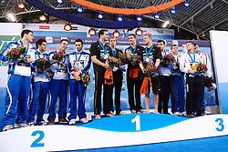 25.11.2010, Pieter van den Hoogenband Zwemstadion, Eindhoven, NED, Kurzbahn Schwimm EM, im Bild ..Men's 4x50m Medley Relay Podium.ITALY Silver, GERMANY Gold, Russia BRONZE // Eindhoven 25/11/2010 .European Short Course Swimming Championships, EXPA/ InsideFoto/ Staccioli+++++ ATTENTION - FOR AUSTRIA/AUT, SLOVENIA/SLO, SERBIA/SRB an CROATIA/CRO CLIENT ONLY +++++ / SPORTIDA