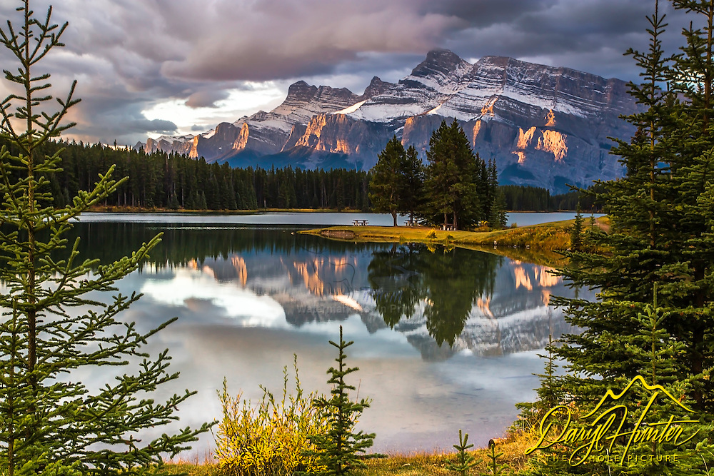 Mt. Rundell reflecting in Two Jack Lake in Banff National Park