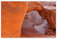 Bizarre and artistic is the shape of Sand Dune Arch at Arches National Park, Utah, USA