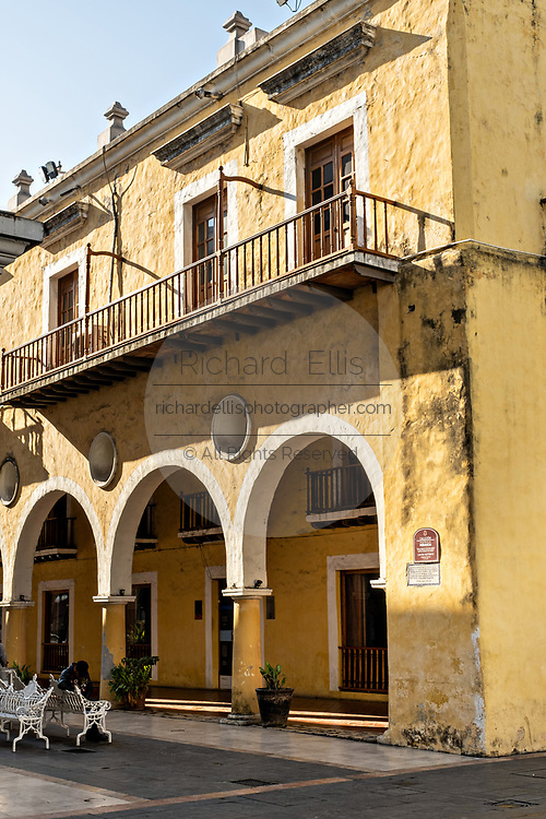 An old colonial building on the Plaza de las Armas and the Portales de Veracruz in the historic center of the city of Veracruz, Mexico. The area is the main public square in Veracruz.