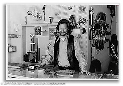 Arlen behind the counter at his first store on 14th Street shortly after opening. San Leandro, CA. c.1971 Ness Family Archive Photo