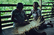 DAYAK, MALAYSIA. Sarawak, Borneo, South East Asia. Weaving rattan mat on longhouse verandah. Tropical rainforest and one of the world's richest, oldest eco-systems, flora and fauna, under threat from development, logging and deforestation. Home to indigenous Dayak native tribal peoples, farming by slash and burn cultivation, fishing and hunting wild boar. Home to the Penan, traditional nomadic hunter-gatherers, of whom only one thousand survive, eating roots, and hunting wild animals with blowpipes. Animists, Christians, they still practice traditional medicine from herbs and plants. Native people have mounted protests and blockades against logging concessions, many have been arrested and imprisoned.