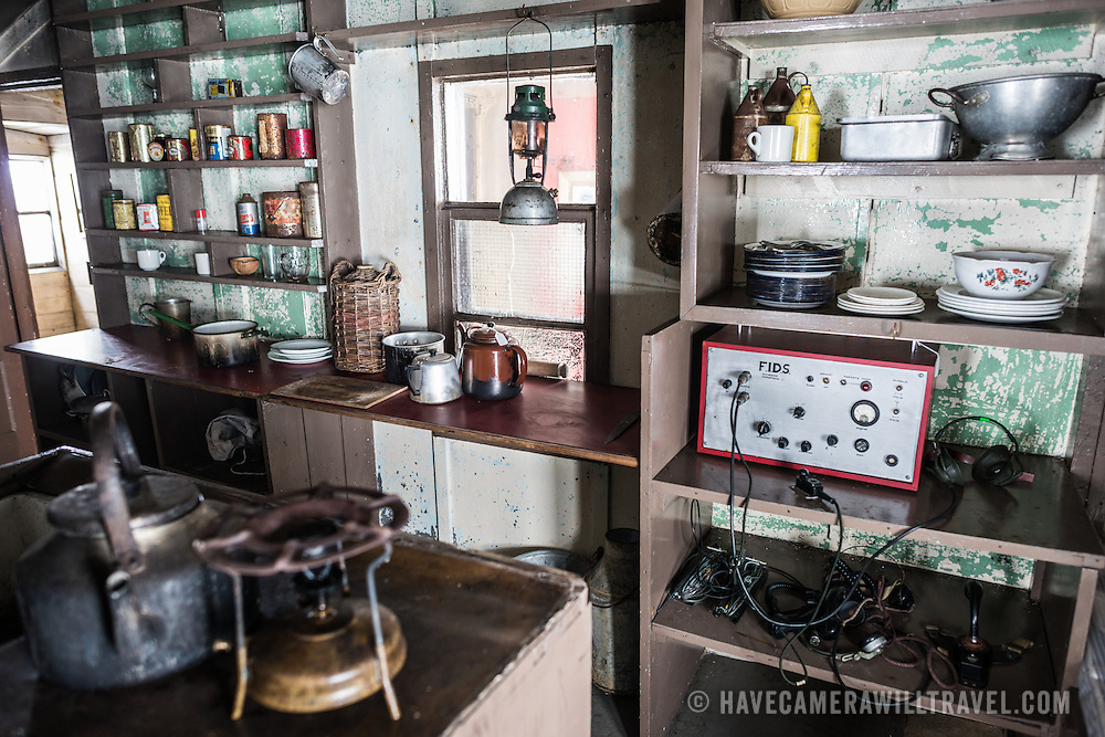 The kitchen area of Wordie House, with a large radio marked with the acronym FIDS for Falkland Islands Dependency Survey. Originally known as Base F and later renamed after James Wordie, chief scientist on Ernest Shackleton's major Antarctic expedition, Wordie House dates to the mid-1940s. It was one of a handful of bases built by the British as part of a secret World War II mission codenamed Operation Tabarin. The house is preserved intact and stands near Vernadsky Research Base in the Argentine Islands in Antarctica.