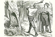 Woodman, Spare That Tree': Disraeli's (Lord Beaconsfield) Conservative advice to Gladstone, the Liberal, not to disturb the nest of vipers and to leave the Turkish question alone.  John Tenniel cartoon from 'Punch', London, 26 May 1877.
