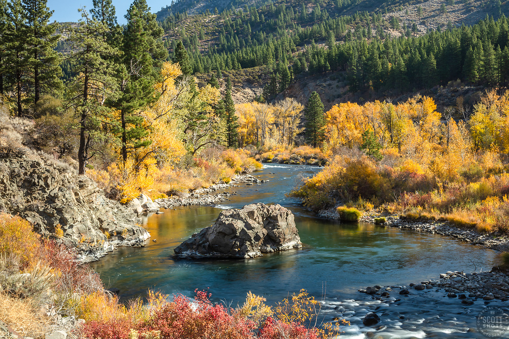 """""""Truckee River in Autumn 30"""" - Photograph of the Truckee River in the fall, shot off of Hwy 80, in California, just west of Nevada."""