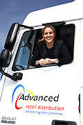 Corby MP Louise Mensch, in the cab of an ASC Lorry