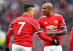 Manchester United's Alexis Sanchez celebrates scoring his side's second goal of the game with team mate Ashley Young