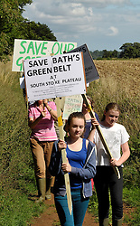 © Licensed to London News Pictures. 18/08/2013. Bath, UK. 150 people take part in a protest walk organised by the South Of Bath Alliance (www.soba.org.uk) against proposals to build hundreds of new houses between Midford Road in Bath and the village of South Stoke near Bath.  18 August 2013.<br /> Photo credit : Simon Chapman/LNP