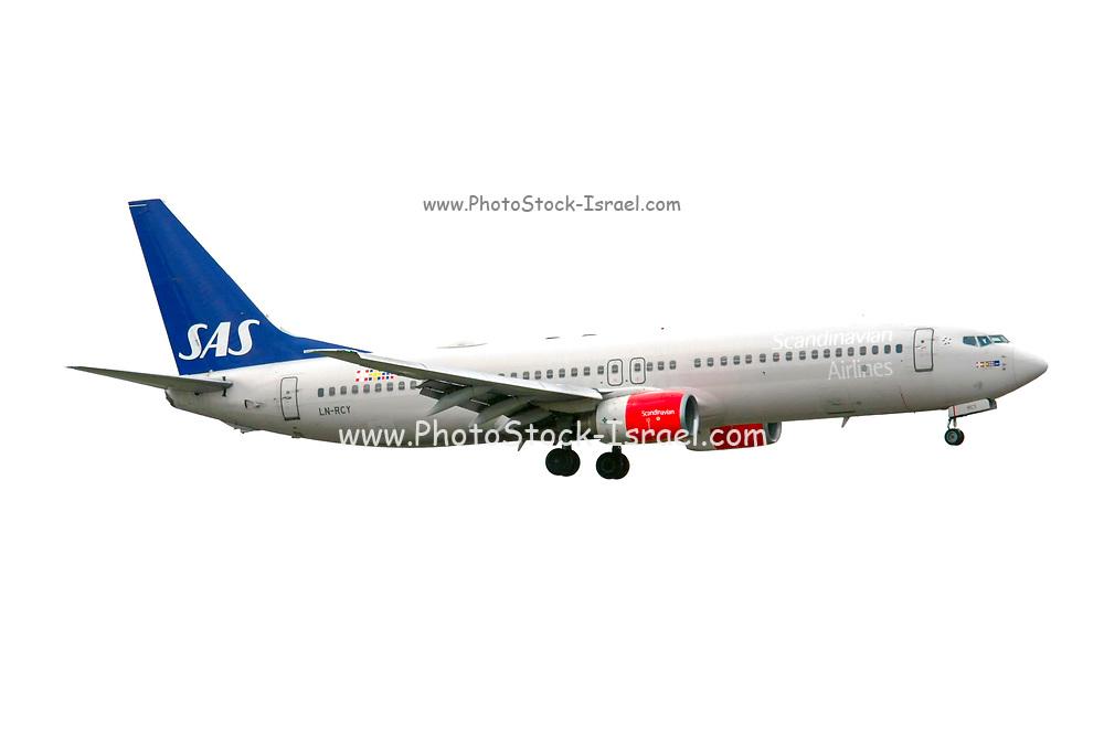 SAS Scandinavian Airlines System Boeing 737 Next Gen. at Milan Malpensa (MXP / LIMC) Italy cutout on white background