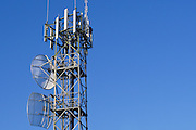 GSM and CDMA cellsite antenna array for the cellular telephone system on a tower - Port Douglas, Australia <br /> <br /> Editions:- Open Edition Print / Stock Image