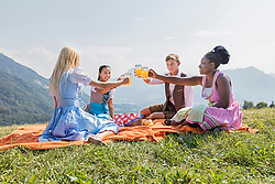 Teenage friends clinking glasses of orange juice during picnic, Bavaria, Germany