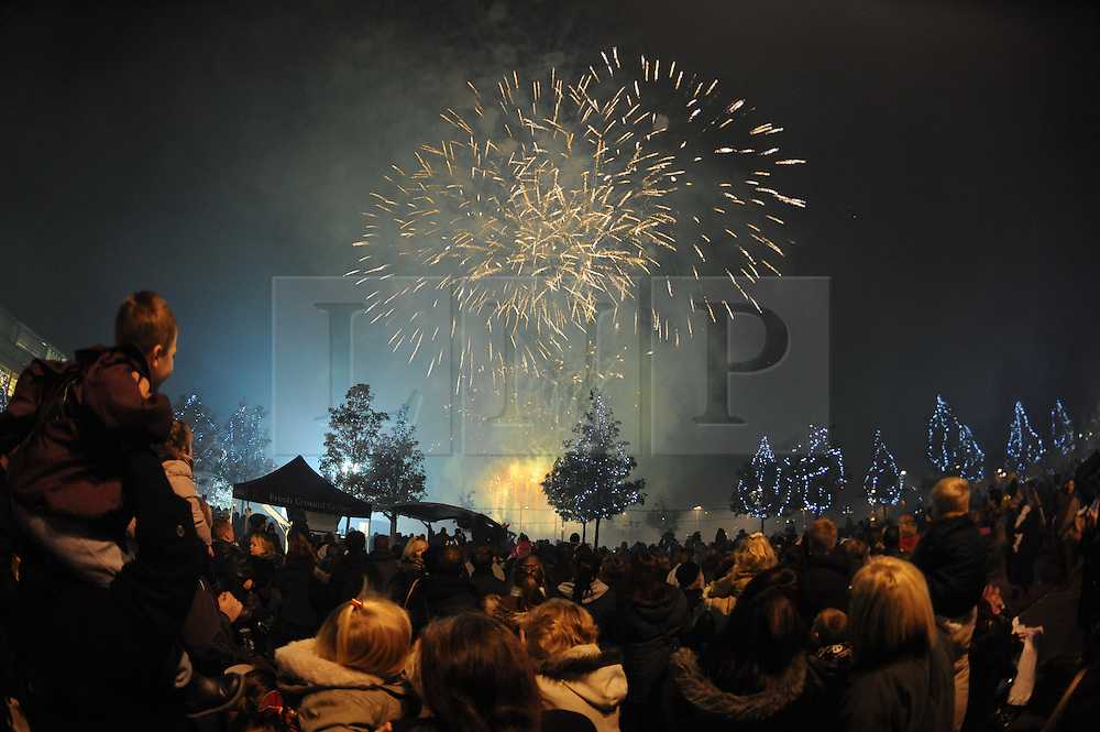 © Licensed to London News Pictures. 15/11/2013<br /> Fireworks after the light switch on.<br /> Bluewater,Kent. Christmas Light switch tonight (15.11.2013)<br /> with  Toby Antis, Justin Fletcher (Mr Tumble), Jahmene Douglas and X- factors Tamera Foster from this years show.<br /> Photo credit :LNP