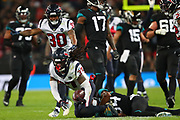 Houston Texan's strong safety, Jahleel Addae (37) intercepts a pass during the NFL game between Houston Texans and Jacksonville Jaguars at Wembley Stadium in London, United Kingdom. 03 November 2019