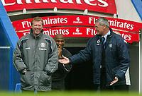 Fotball<br /> Premier League 2004<br /> Photo: Scott Heavey, Digitalsport.<br /> Chelsea v Midlesbrough. FA Barclaycard Premiership.10/04/2004<br /> Claudio Ranieri (R) enjoys a joke with Steve McClaren<br /> NORWAY ONLY